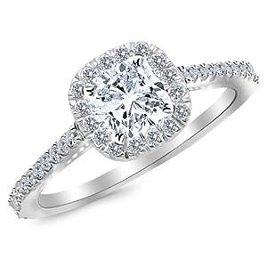 GIA Certified 1 Carat Cushion Cut 14K White Gold Halo Diamond Engagement Ring - 0.7 ct center H VS2