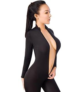 64d5238eca0 YKA Zipper Open ice Silk Transparent Tights Leotard Lady Outdoor  Transparent Slim Sexy Lingerie