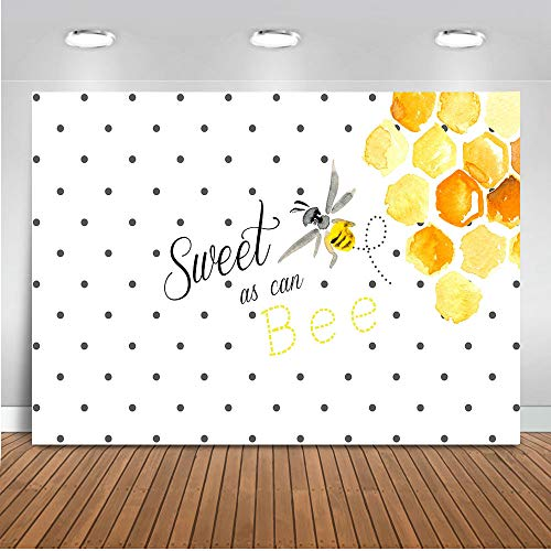 Mocsicka Sweet as Can Bee Backdrop 7x5ft Bee Theme Honeycomb Baby Shower Photo Backdrops Bee Birthday for Girl Cake Table Banner Photography Background]()