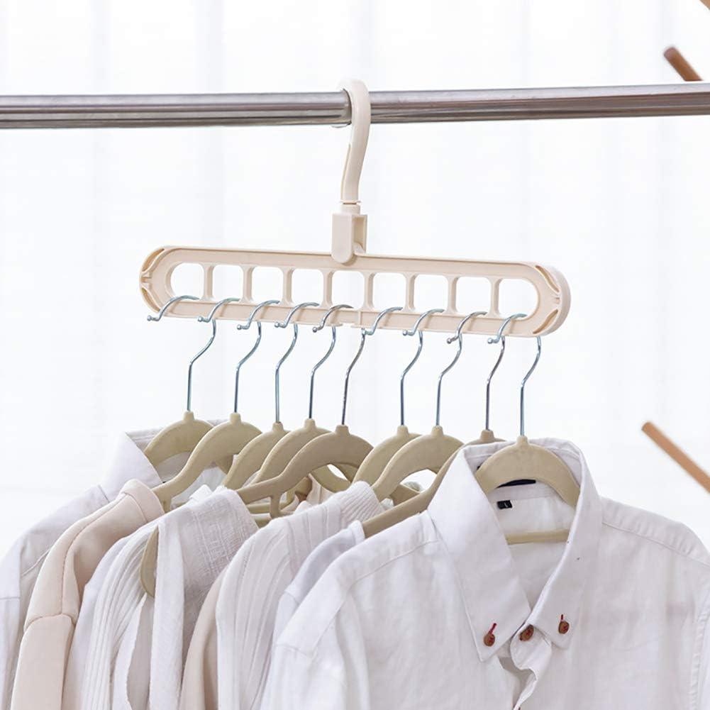Ropa Pantalones de m/últiples Capas Perchas Armario ropero de Almacenamiento de Las Bragas de los Pantalones de Las Bragas de Rack para Ahorrar Espacio Beige