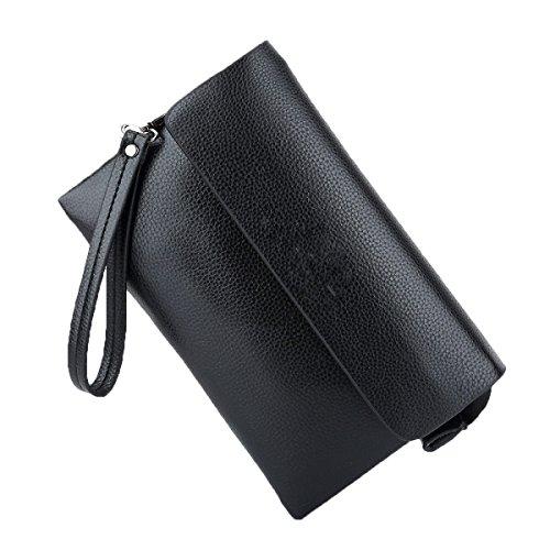 Bolso De Cuero Bolso Hombres Bolso Bolsa De Mano De Largo Sección De Gran Capacidad De La Cartera De Cremallera Moda Bolso Black