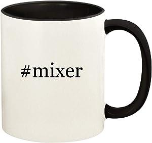 #mixer - 11oz Hashtag Ceramic Colored Handle and Inside Coffee Mug Cup, Black
