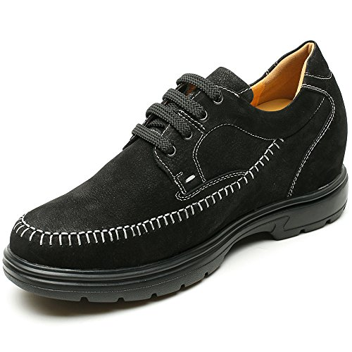 3 inches AH71X27V012D Shoes Increasing Insoles Mens Black CHAMARIPA Suede Driving Leather Casual Height 54 7YB8qSw