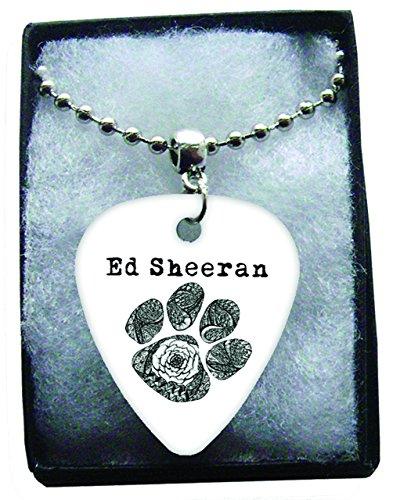 Ed Sheeran Black Paw Metal Guitar Pick Necklace Ball Chain Collier Médiator