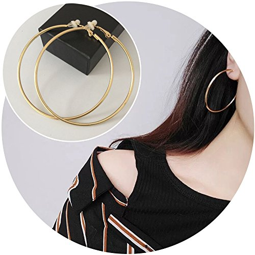 Aifeer 1 Pair Big Circle Clip On Earring Gold Stainless Round Simple Hoop Ear Cuffs No Piercing (Gold 7 cm)