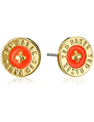 Ted Baker Tempany Enamel Logo Button Stud Earrings