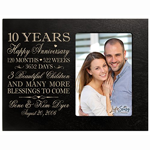 LifeSong Milestones Personalized Ten Year for her him Couple Custom Engraved Wedding Gift for Husband Wife Girlfriend Boyfriend Photo Frame Holds 4x6 Photo (Black)