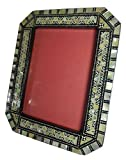Egyptian Handmade Mosaic Inlaid Mother Of Pearl Wood Wooden 5''X3.5'' Picture Frame Mother Of Pearl Inlaid Inlay Photo Picture Standing Frame Decorative Home Décor Decoration Decorated 222