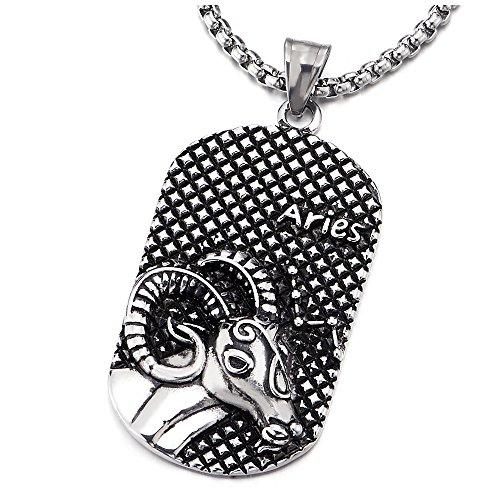 COOLSTEELANDBEYOND Vintage Steel Horoscope Zodiac Signs Aries Dog Tag Pendant Necklace Twelve Constellations Mens Women