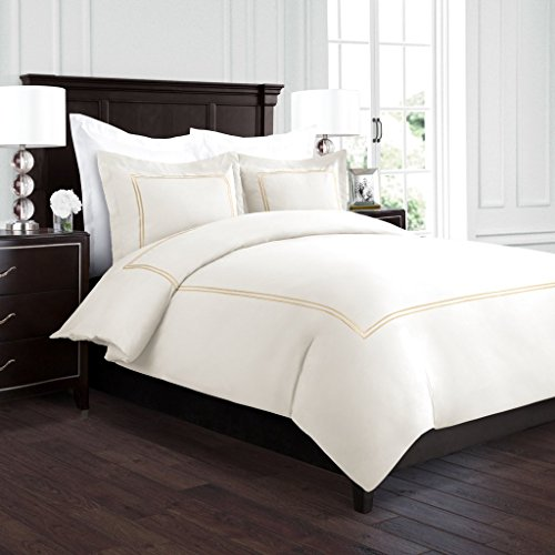 Beckham Hotel Collection Luxury Soft Brushed 2100 Series Embroidered Microfiber Duvet Cover Set with Beautiful 2-Stripe Embroidery - Hypoallergenic - Full/Queen - Cream/Gold