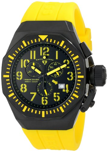 Swiss Legend Men's 10540-BB-01-YA Trimix Diver Chronograph Black Dial Yellow Silicone - Swiss Men Watches Legend