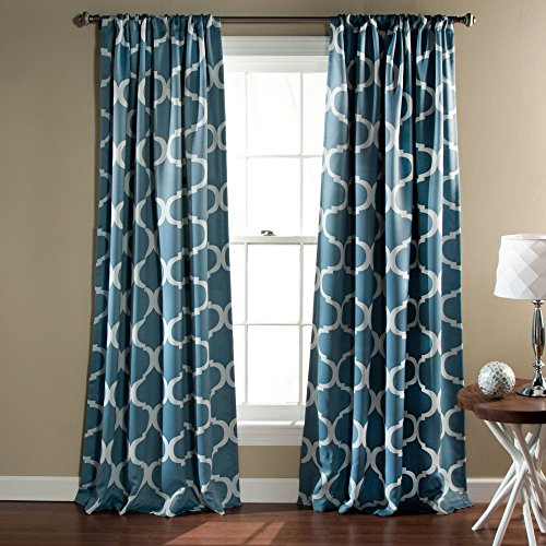 Lovely Lush Decor Geo Room Darkening Window Curtain, 84 By 52 Inch, Blue, Set Of 2