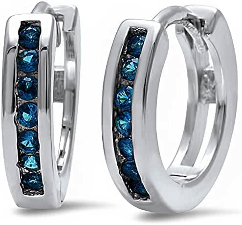 Half Eternity Round Simulated Blue Sapphire .925 Sterling Silver Hoop Earrings
