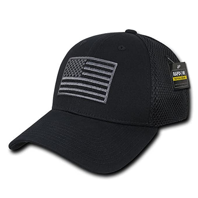 USA US American Flag Tactical Operator Mesh Flex Baseball Fit Hat Cap -  Black bce64993346