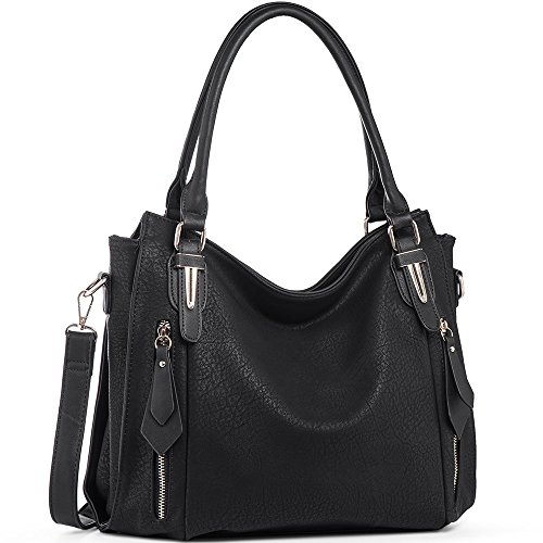 Handbags for Women Shoulder Tote Zipper Purse PU Leather Top-handle Satchel Bags Ladies Medium Size Uncle.Y Black (Med Black Leather Purse)