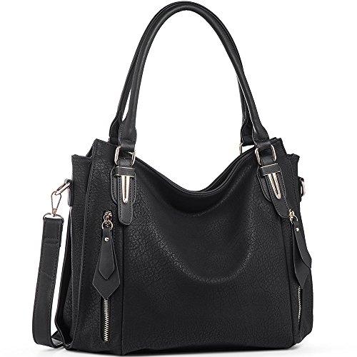 Handbags for Women Shoulder Tote Zipper Purse PU Leather Top-handle Satchel Bags Ladies Medium Size Uncle.Y Black