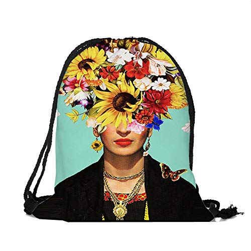 ROZKITCH Frida Kahlo Portrait Drawstring Bag Tote Gym Sack Cosmetic Bag Backpack Lightweight Bundle Pocket for Women Girls Christmas Party Travel]()