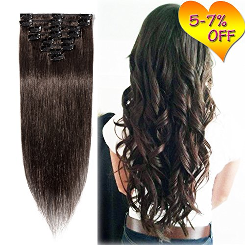 3-5 Days Delivery 16'' Clip in Human Hair Extensions Ful