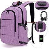 Tzowla Business Laptop Backpack Water Resistant Anti-Theft College Backpack with USB Charging Port and Lock 15.6 Inch Computer Backpacks for Women Girls, Casual Hiking Travel Daypack(Purple)