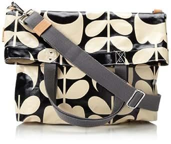 Orla Kiely Laminated Book Messenger Bag,Black/Cream,One Size