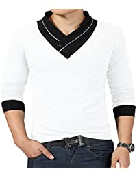 100% Cotton Mens Casual V-neck Button Slim Muscle Tops Tee Short Sleeve T- Shirts