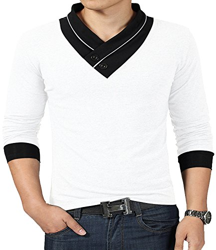 Casual V-Neck Button Slim Muscle Tops Tee Short Sleeve T- Shirts (US Medium, Long Sleeve White) ()