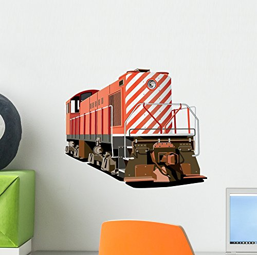 Red Stripped Locomotive Train Wall Decal by Wallmonkeys Peel and Stick Graphic (12 in W x 11 in H) WM325242