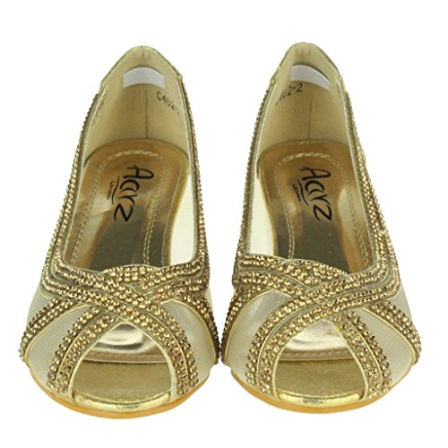 Boda Talla Sandalias Peep A Cumpleaños Fiesta Oro Medio Niños De Noche Través Zapatos Chicas Tacón Vea Malla Niñas Toe Princesa aU0A7qZ