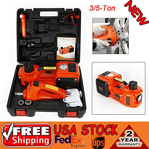 BSTOOL Electric Hydraulic Floor Jack Set 3 in1 5 Ton 12v All-in-one Automatic Car Lift Lifting Jack Set with Impact Wrench Car Repair Tool Kit (Set Jack Air)