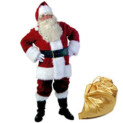 Deluxe Santa Suit Velvet Costumes (Molodo Men's Deluxe Santa Suit 10pc. Christmas Ultra Velvet Adult Santa Claus Costume)