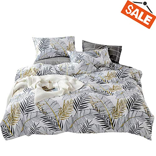 VClife Cotton Bedding Sets Queen Duvet Cover Sets Gray-Black White Tropical Plant Leaves Pattern Checkered Print Queen 1 Duvet Cover 2 Pillowcases Wrinkle Fade Resistant Breathable Lightweight Soft