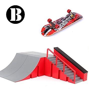 Rampas Skatepark, Mini Kit Diapasón Parque Del Patín Monopatín Dedo Entrenamiento En La última Puntales Juguete Regalo de Navidad Para Niños (B)