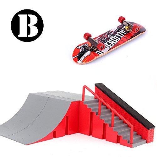 Skatepark Ramps, Mini Fingerboard Skate Park Kit for Tech Deck Circuit Board DIY Finger Skate Boarding Ultimate Sport Training Props Toy Christmas Gift for Kids (Pattern B)