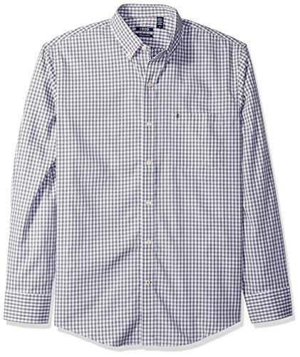 IZOD Men's Premium Performance Natural Stretch Gingham Long Sleeve Shirt (Regular and Slim (Cotton Poplin Gingham Shirt)