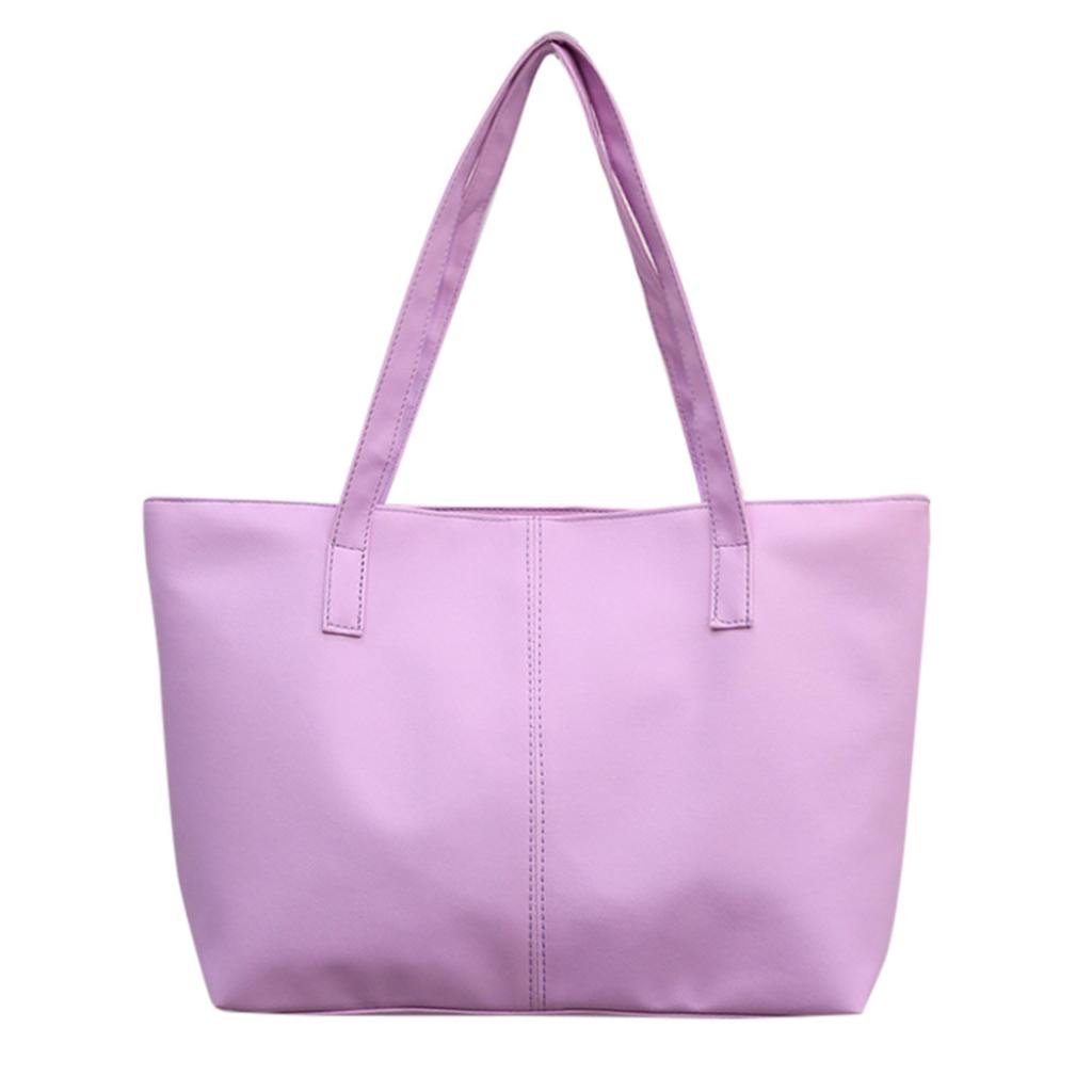 Clearance! Nevera Women Ladies Leather Large Shoulder Bag Tote Purse Travel Bags (Purple)