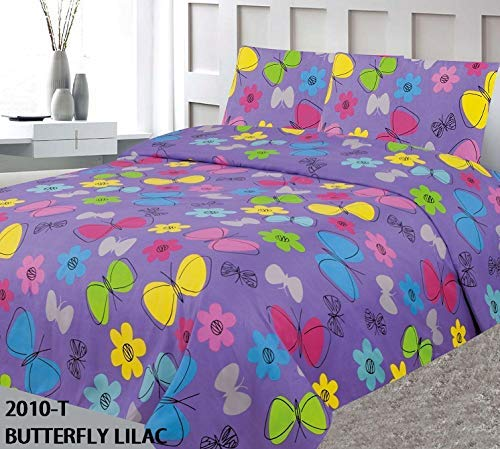 Girl Flower Discounted - Elegant Home Cute Beautiful Muliticolor Butterflies Daisy Flower Floral Design Fun 4 Piece Printed Full Size Sheet Set with Pillowcases Flat Fitted Sheet for Girls/Kids # Butterfly Lilac (Full Size)