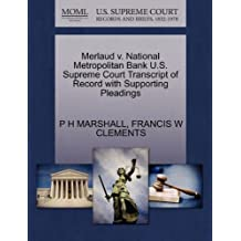 Merlaud V. National Metropolitan Bank U.S. Supreme Court Transcript of Record with Supporting Pleadings