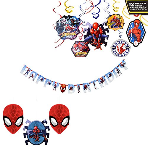 Marvel Spiderman Decorations Party Supplies Pack - Hanging Swirls, Table Decorating Kit, and Jumbo Letter Banner