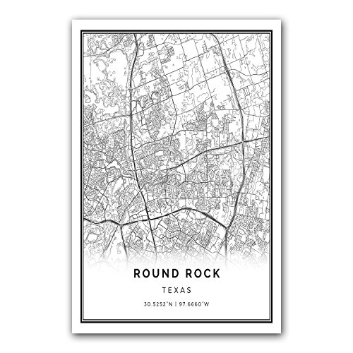 Squareious Round Rock map poster print | Modern black and wh