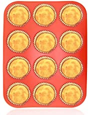 Philonext Pan - Vassoi per Muffin, 12 Tazze, in Silicone, per Cupcake, 32,7 x 24,5 x 2,8 cm, Colore: Rosso