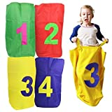 Go Potato Sacks | Set of 4 High-Density Thickened Oxford Cloth Potato Sack Race Bags for Heavy Duty Purpose | Potato Sack with Number for Field Day Events | Color Vary | 1543
