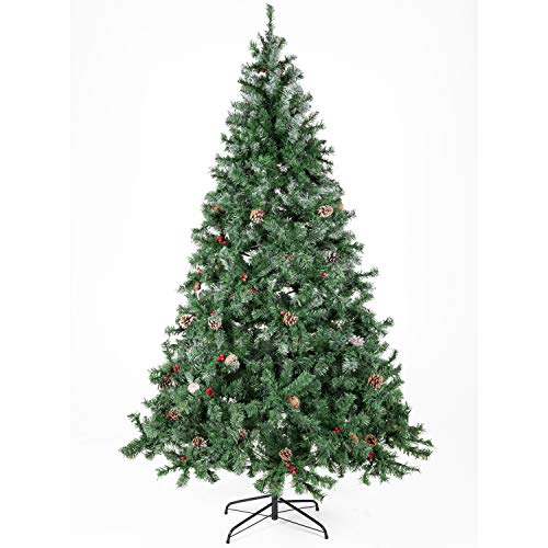 Artificial Christmas Tree Decorated with Pine Cones and Red Berries Unlit/Prelit 5-7.5 FT (Christmas Tree Reuse)