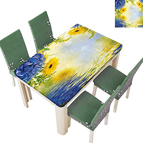 Printsonne Polyester Tablecloths Blue Romantic Bouquet of Hydrangeas and Asters on Water Background Violet Blue Earth for Indoor and Outdoor Use 54 x 72 Inch (Elastic Edge)