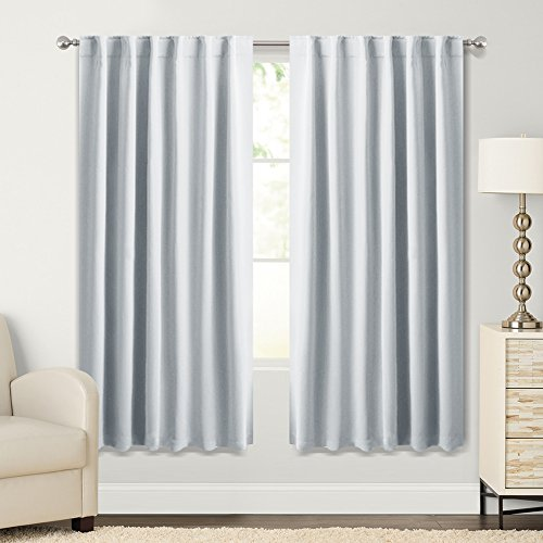 PONY DANCE Greyish White Room Darkening Curtain Panels - Light Filtering Window Draperies Back Tab/Rod Pocket Blackout Curtains Home Decoration, 52