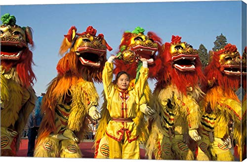 Lion Dance Performance Celebrating Chinese New Year Beijing China - MR by Keren Su/Danita Delimont Canvas Art Wall Picture, Gallery Wrap, 42 x 28 inches
