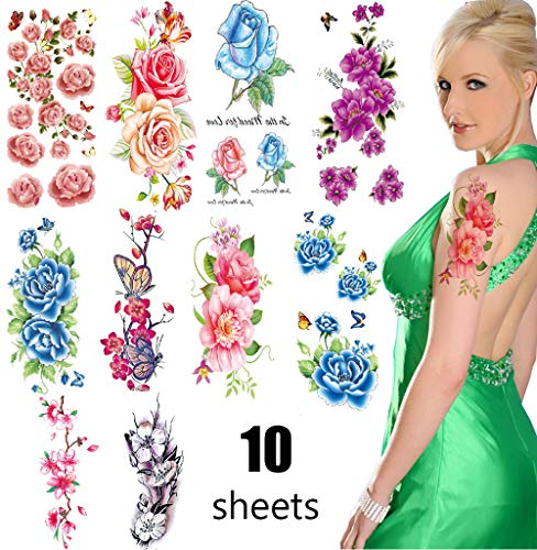 3D Temporary Tattoos for Women  Large Butterfly Flowers Stickers Sexy Fake Stickers Girls Lady Tattoo Body Art Waterproof Arms Legs Shoulder or Back ()
