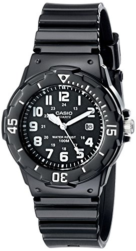 Dive 100m Watch (Casio Women's LRW200H-1BVCF Classic Analog Japanese Quartz Black Resin Watch)