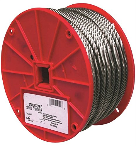 - Stainless Steel 316 Wire Rope on Reel, 7x19 Strand Core, 1/4