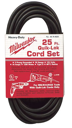 Milwaukee 48-76-4025 Quik-Lok 25-Foot 3 Wire Grounded Cord