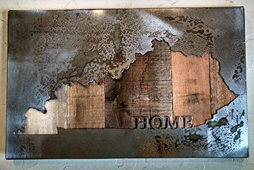 Custom State Map with ''HOME'' - State Love - Metal Art - Reclaimed Wood and Aged Steel by LegendaryFineArt (Image #4)